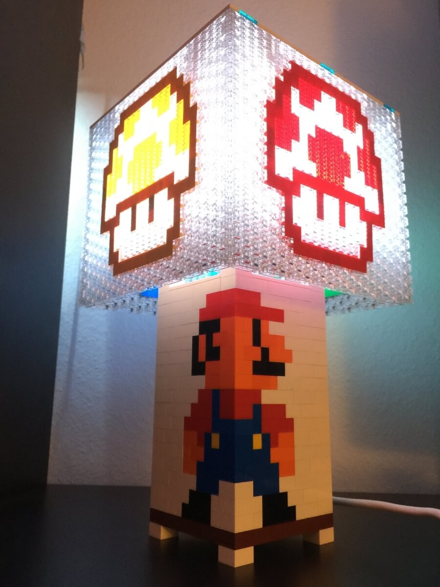 Mario Brothers lamp made out of LEGO bricks