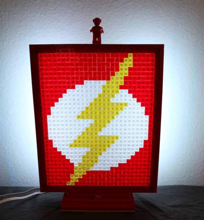The Flash glowing LEGO mosaic