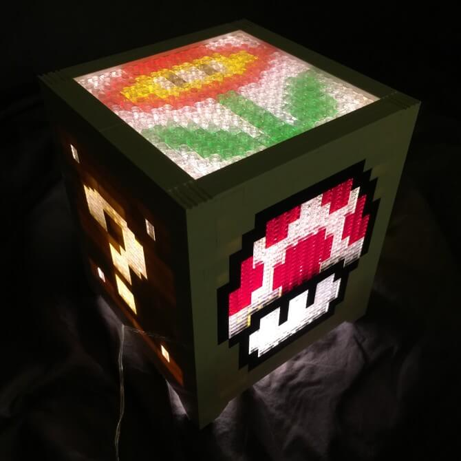 Mario Bros LEGO power up cube lamp
