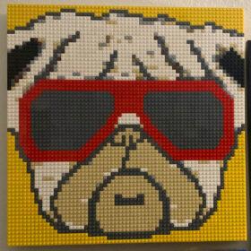 Pug wearing sunglasses - LEGO mosaic